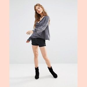 Free People Lone Ranger Denim Shorts Black